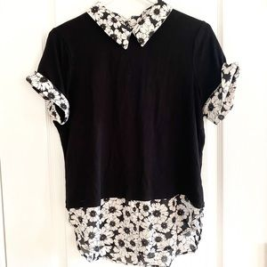 Soft slinky polyester blouse/floral/short sleeves
